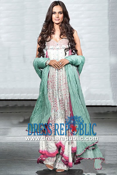 Aqua Chiffon Dress Pakistani Designers Online Shop