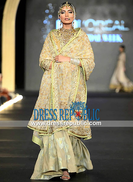 9628ab90dc Light Champagne Two-legged Sharara by Fahad Hussayn Bridal Collection