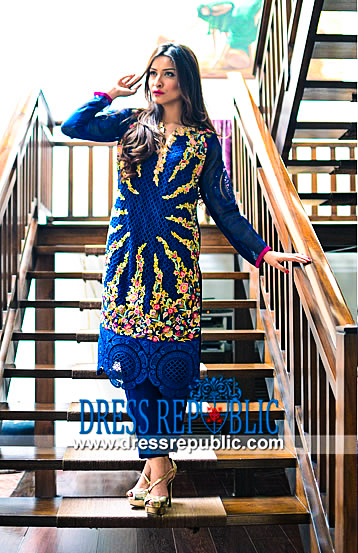 Royal Blue Net Dress by Nadia Farooqui