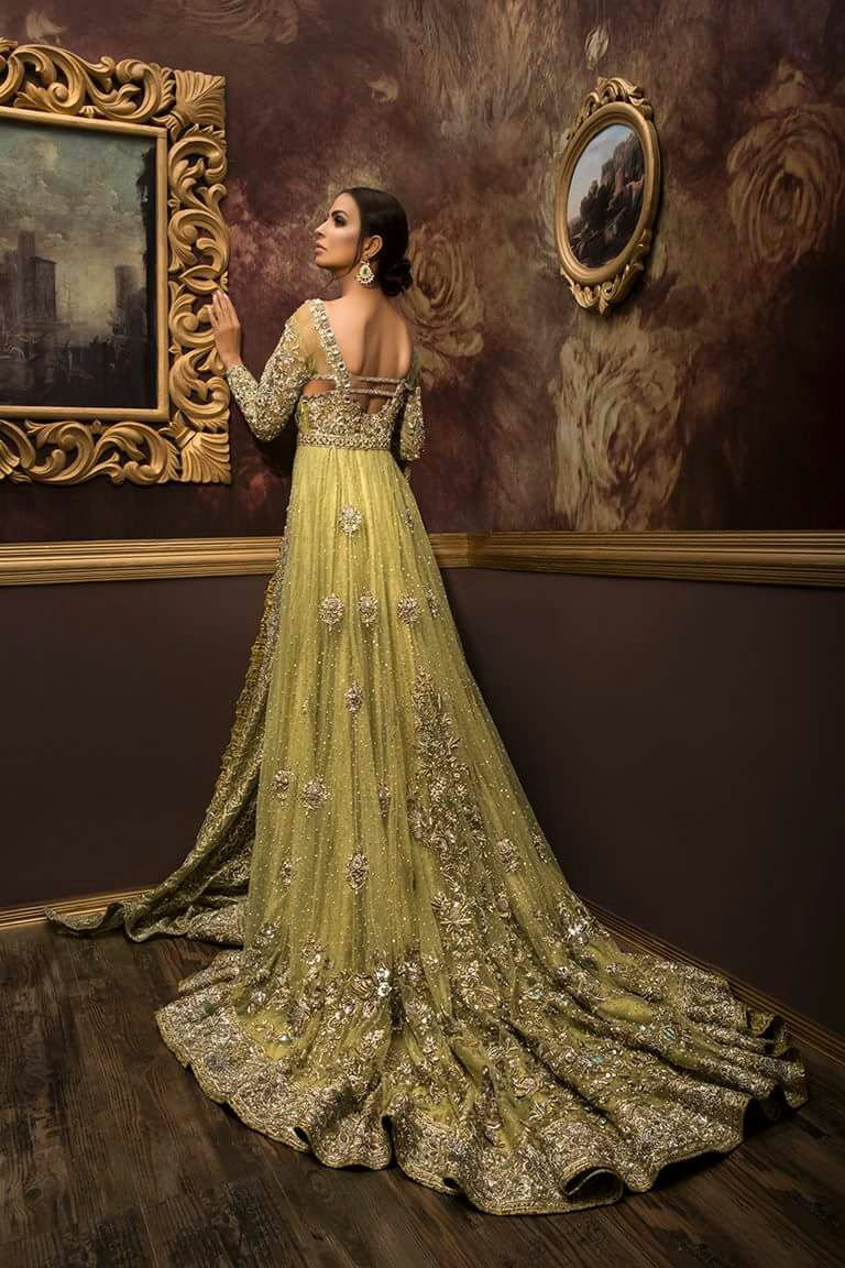 Pakistani Bridal Gown with Long Train 2017