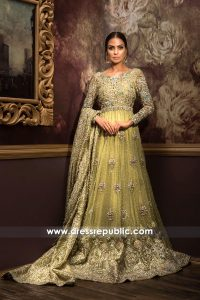 DR14109 - Pakistani Bridal Gown with Long Train 2017