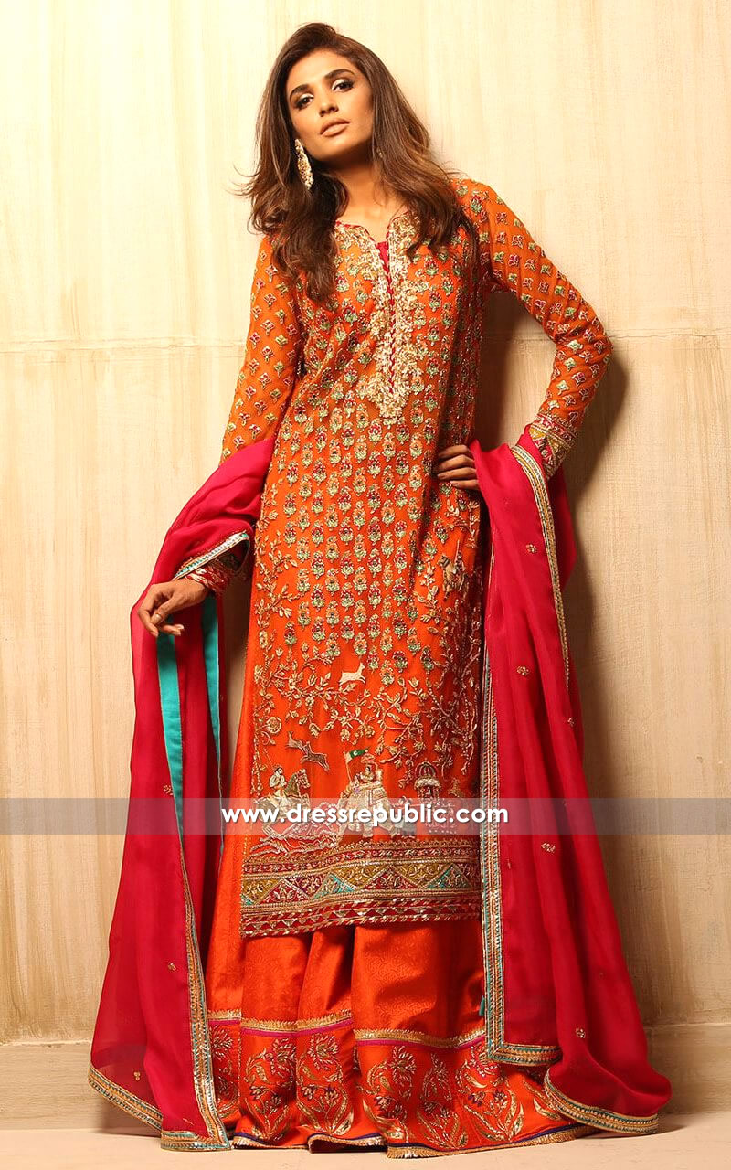 DR14141 Orange Mehndi / Mayoon Lehenga