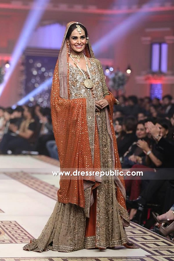 DR14147 - Raising and Bronze Bridal Lehenga