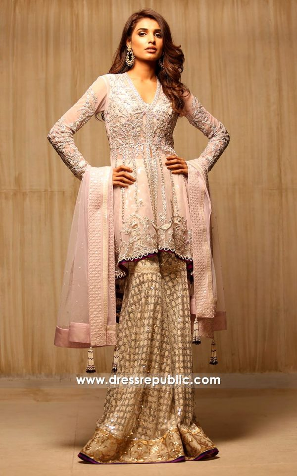 dr14176 - Pakistani Bridal Wears for Walima, Gharara Style for Engagement Bride