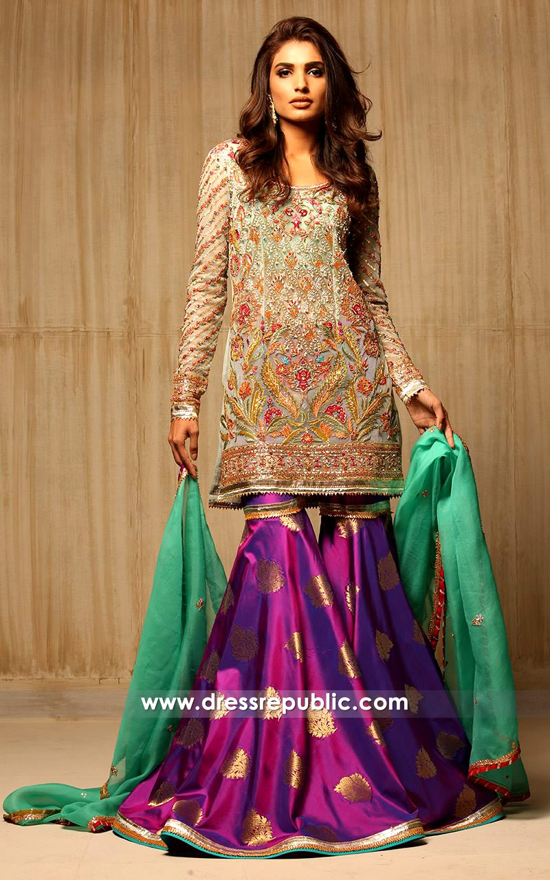 dr14179 - Pakistani Designer Gharara for Wedding Guest