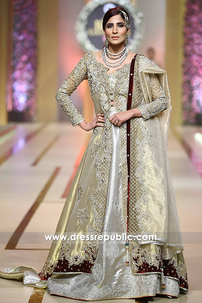 DR14211 - Pakistani Designer Dress in Golden and Silver 2017