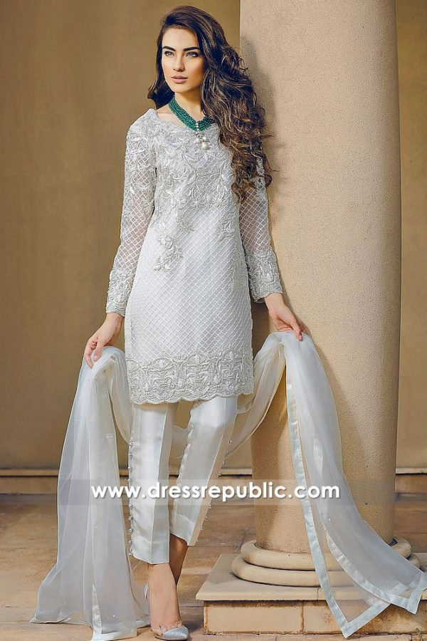 DR14269 - Pakistani Designer Dress in Pearl White Color