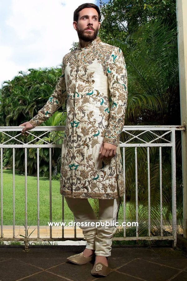 DRM5105 - Bespoke Wedding Sherwani in Beige Colour