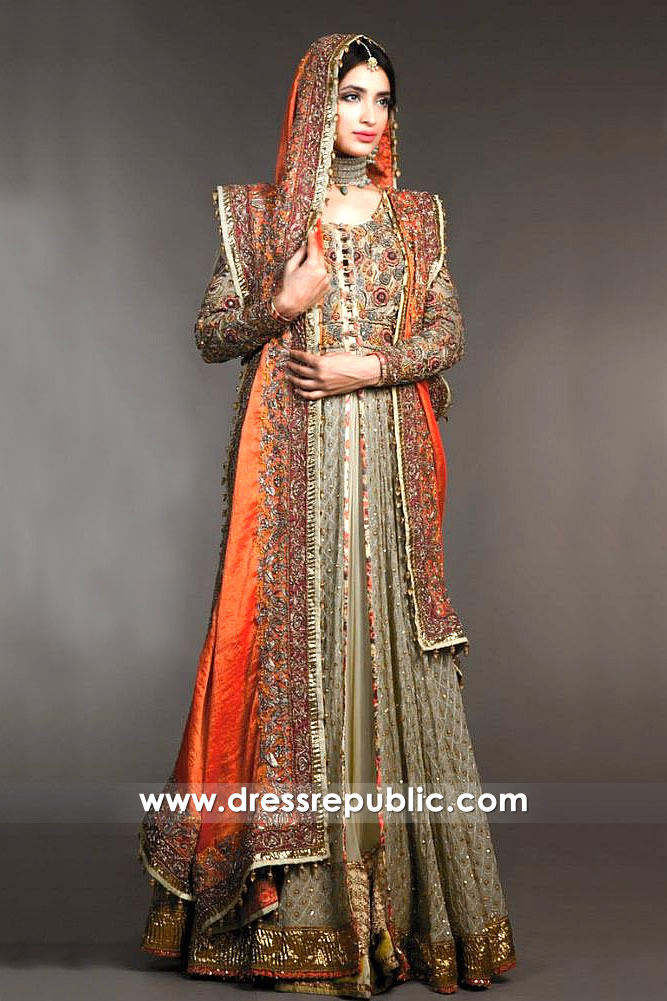 DR14321 - Stone Bridal Lehenga with Burnt Orange Dupatta