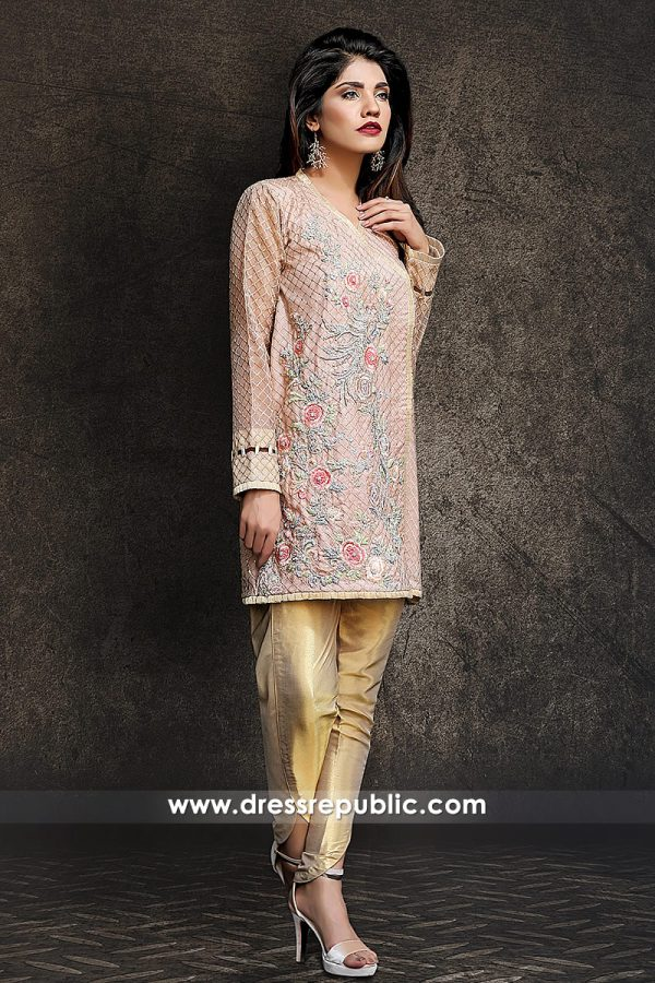 DR14330 - Cameo Pink Hand Embellished Angrakha With Tulip Pants 2017