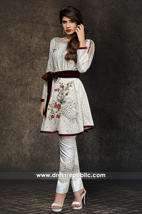 DR14331 - Off White Pakistani Party Wear Dress 2017
