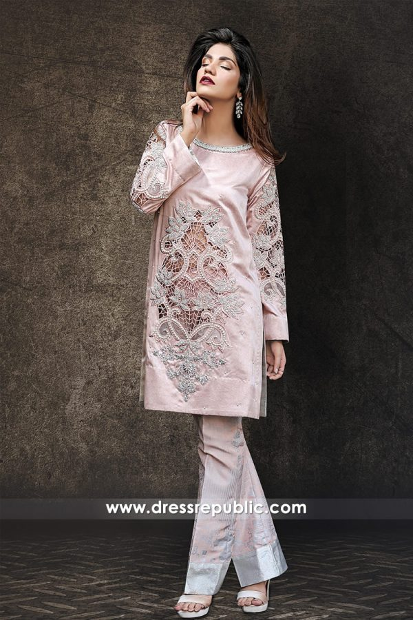 DR14333 - Tea Pink Pakistani Designer Party Wear Dress in Qatar