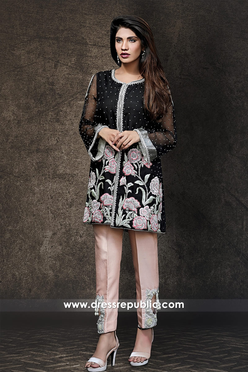 DR14334 - Black Chiffon Kurti Style for EID and Casual Wear