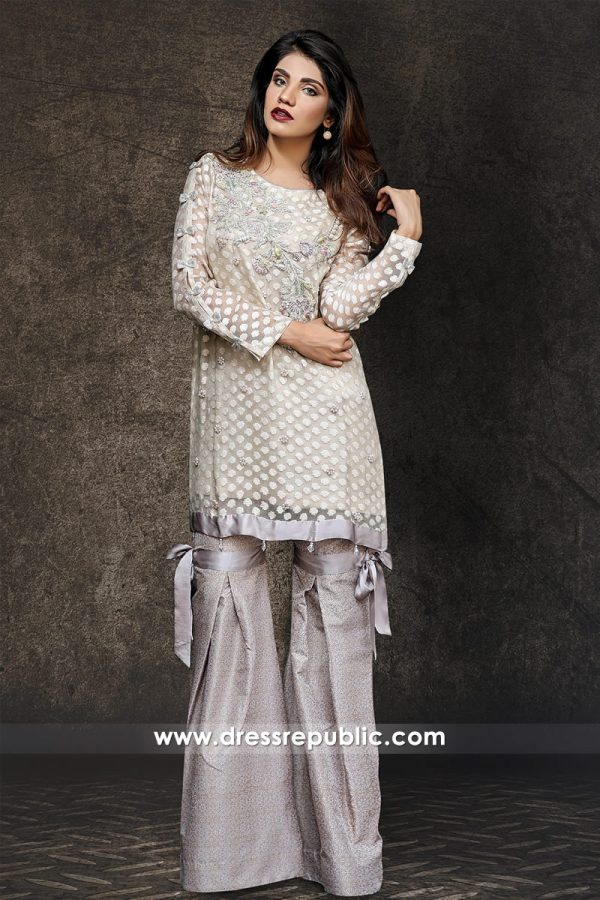 DR14335 - Pakistani Latest Party Wear Dresses With Two Legged Pleated Sharara
