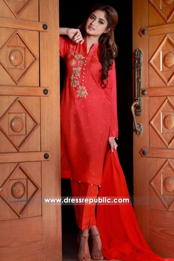 DR14349 - Red Casual Wear Shalwar Kameez Designs, Deep Red Salwar Kurti 2017