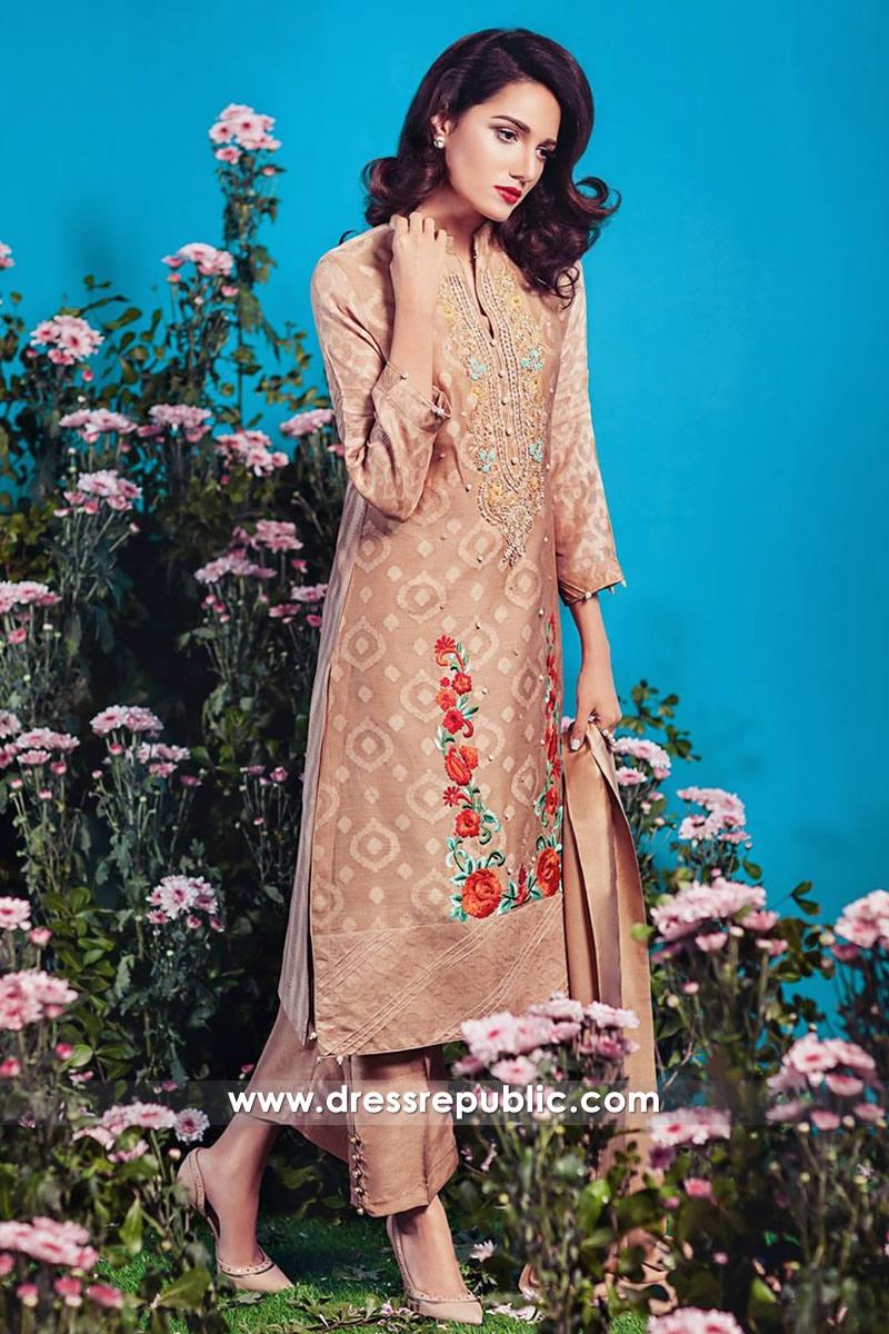 DR14354 - Light Coffee Casual Pakistani Salwar Kameez Style Online Shop Canada