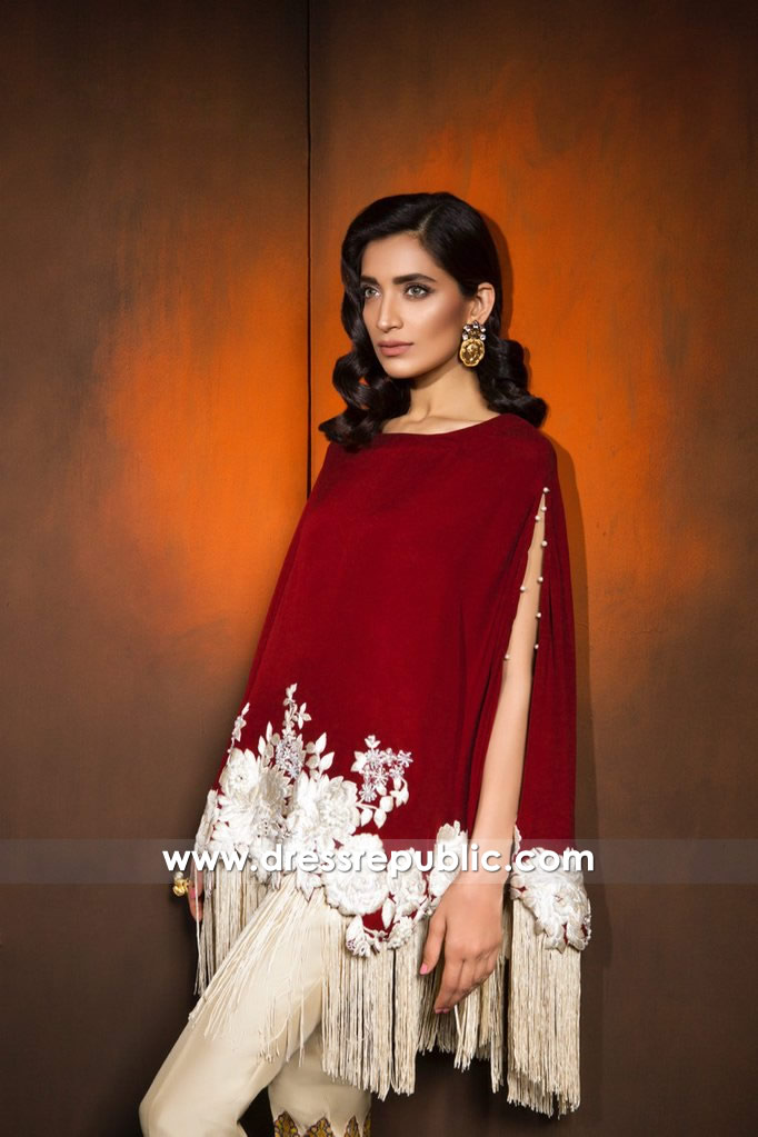 DR14368b - Claret Red Poncho With Floral Embroidery For Christmas Party 2017