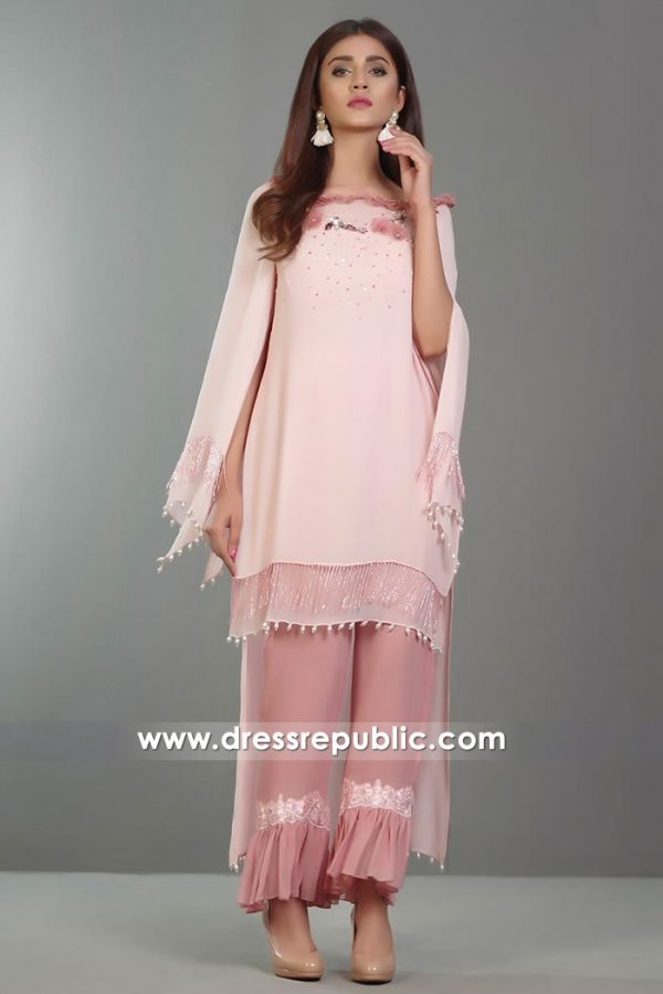 DR14373 - Petal Pink Casual Wear Pakistani Dress in Chiffon
