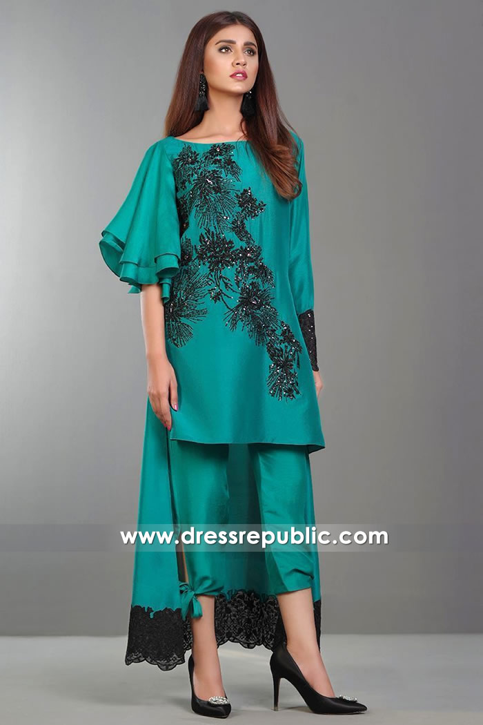 DR14377 - Casual Pakistani Dress in Teal