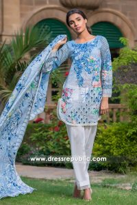 DRP6782 - Firdous Embroidered & Printed Cambric Cotton