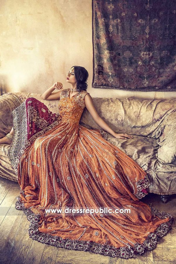 DR14461 - Long Train Pakistani Designer Dress 2018 USA, UK, Canada, Australia