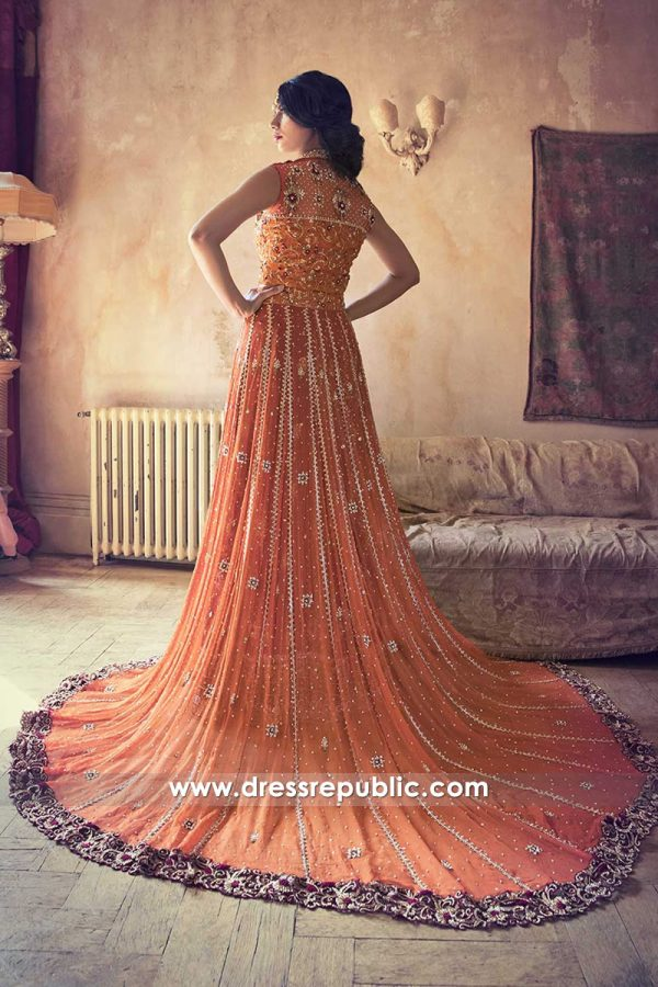 DR14461b - Long Train Pakistani Designer Dress 2018 USA, UK, Canada, Australia