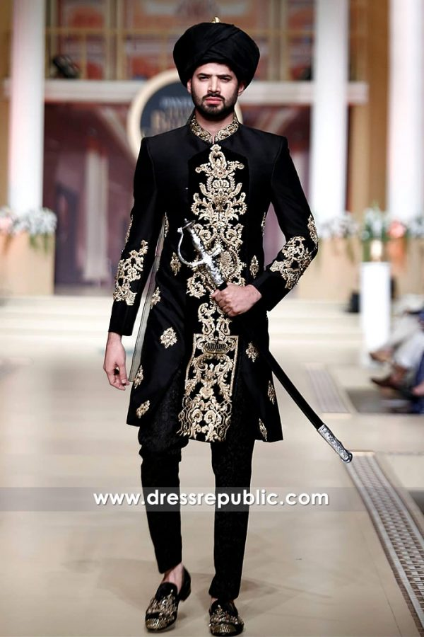 DRM5113 - Black Bridegroom Sherwani 2018 Collection