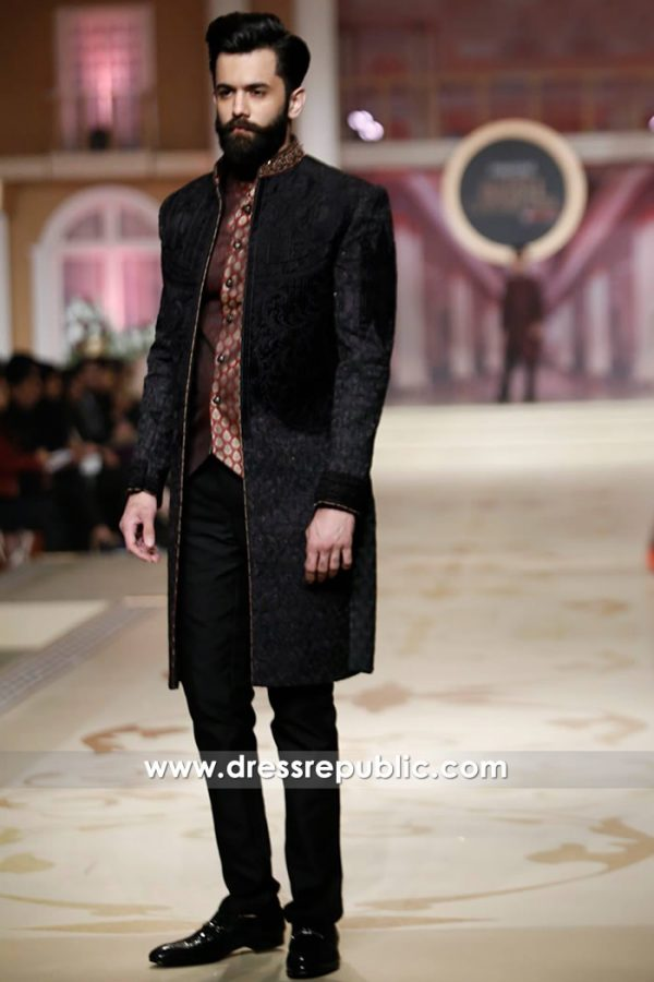 DRM5127 - Black Velvet Sherwani for Winter Wedding