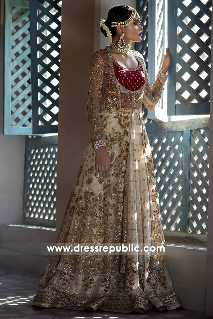 DR14496b - Champagne Bridal Lehenga Long Jacket by Sania Maskatiya