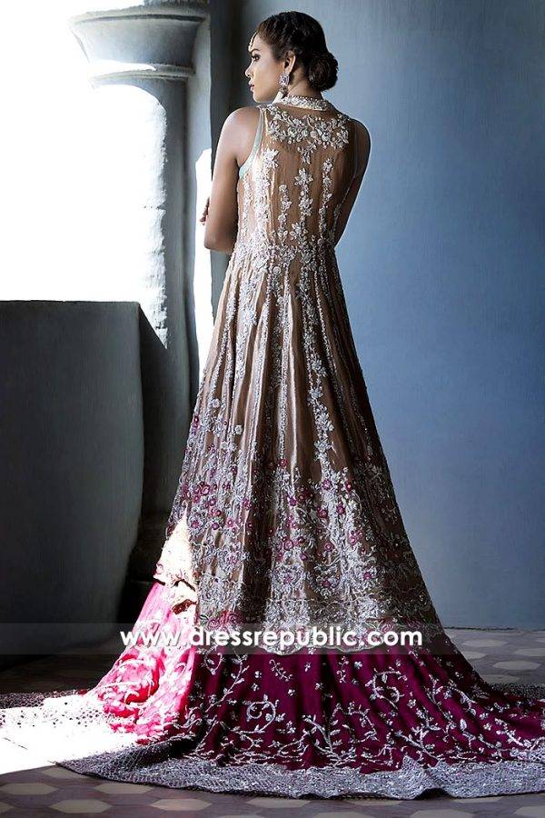 DR14499b - Pakistani Bridal Lehenga with Long Train by Sania Maskatiya