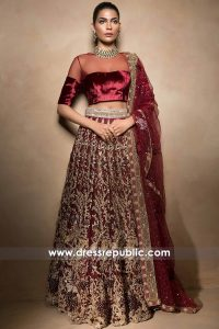 DR14513 - Mahgul Bridal Collection Ruby Wine Bridal Wear Lehenga