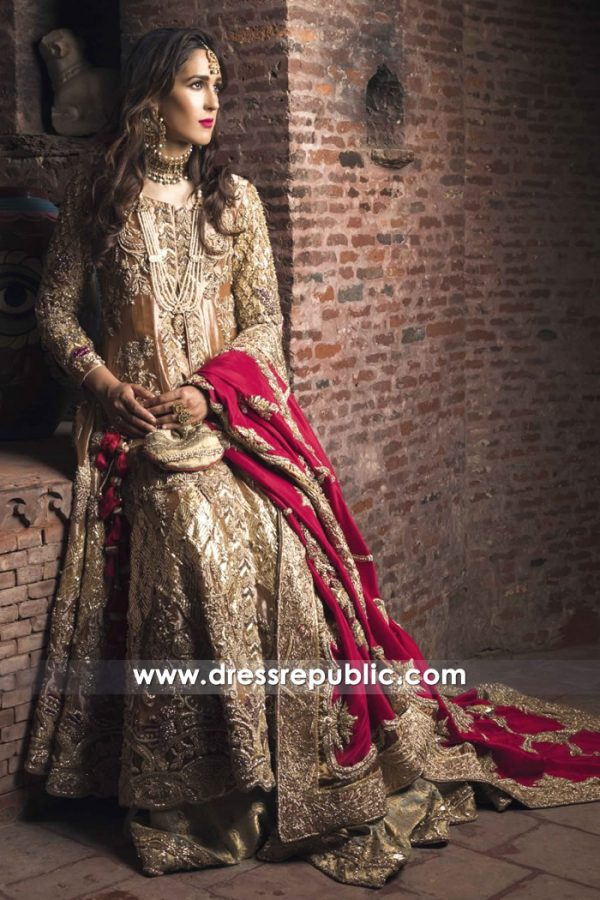 DR14526 Custom Made Bridal Lehenga Burgundy Chiffon Dupatta Online Shop