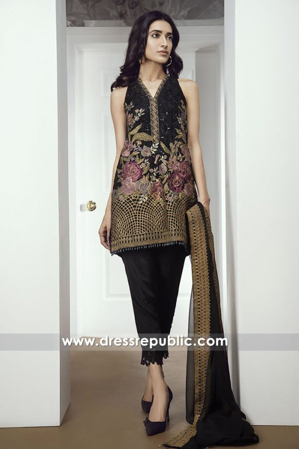 DRP7026 - Pakistani Chiffon Embroidered Dresses by Baroque Toronto, Mississauga