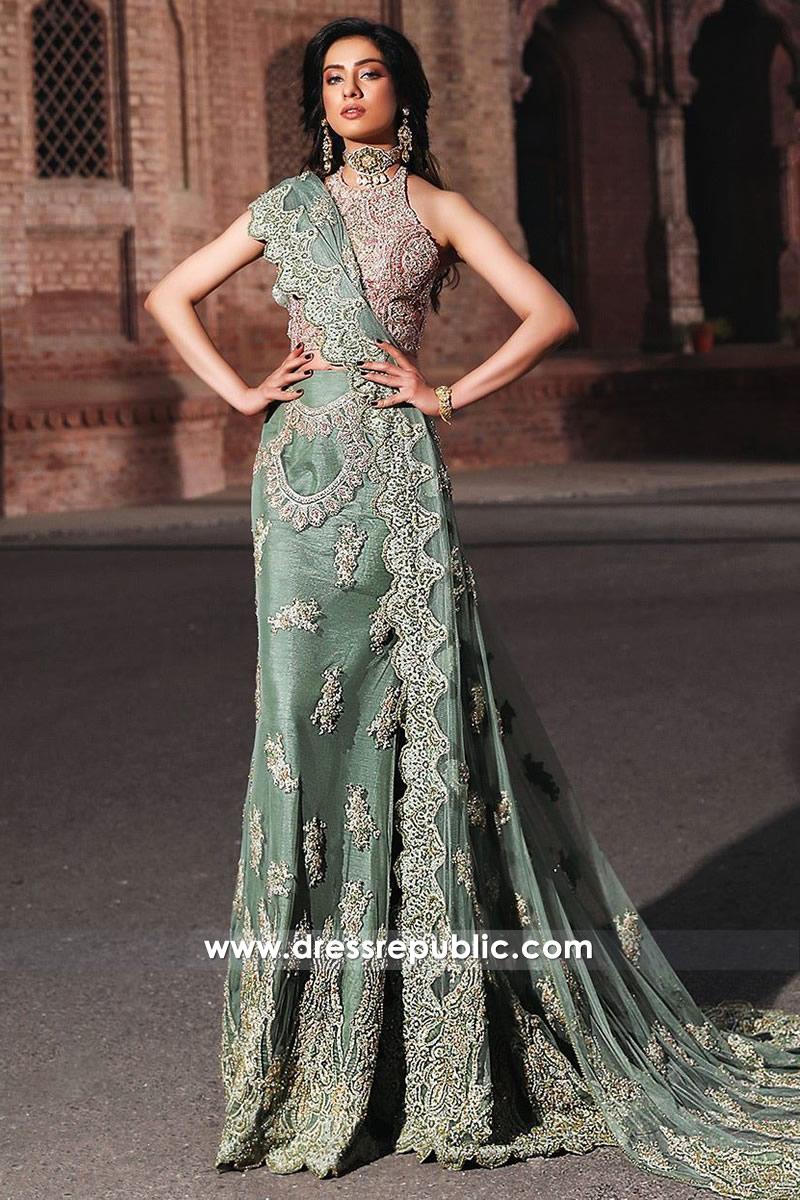 DR14558 Faraz Manan Green Bridal Lehenga Choli V