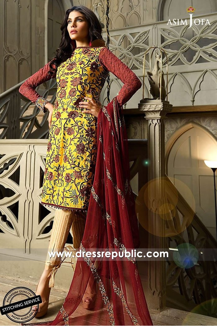 DRP7341 Lawn Suits with Chiffon Dupatta Online Shop by Asim Jofa Lawn 2018