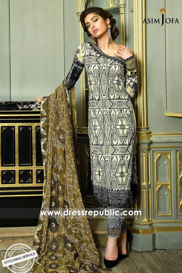 DRP7344 Asim Jofa Luxury Lawn 2018 Chicago, Sacramento, San Francisco