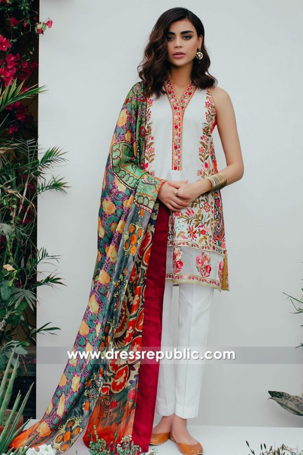 DRP7379 Pakistani Shalwar Kameez Lawn Suits Retailers UK, USA, Canada