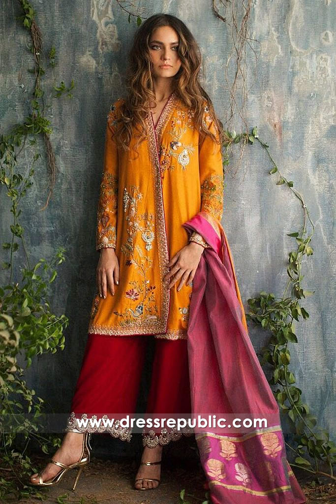 dr14540 Pakistani Shalwar Kameez for Mehndi Mayoon Party 2018 Collection