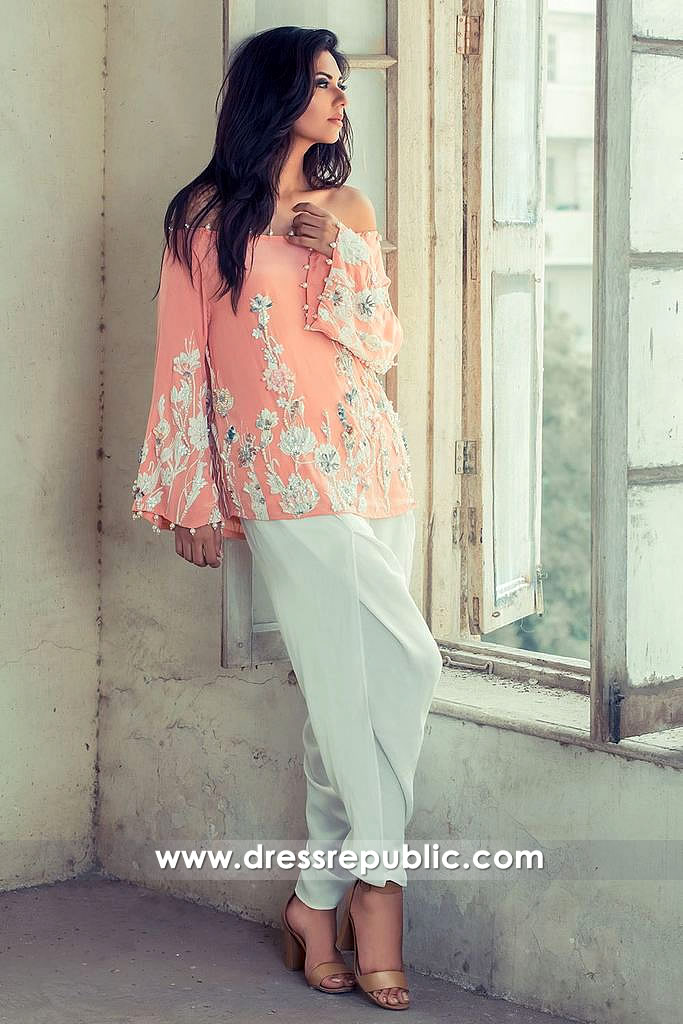 dr14542 Pakistani Designer Casual Wear Dress with Tulip Pants Buy Online