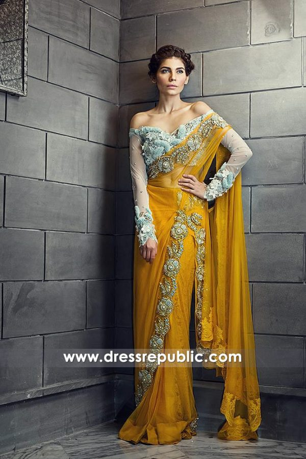 DR14592 Pakistani Designer Lehenga Saree 2018 by Ammara Khan Shop Online
