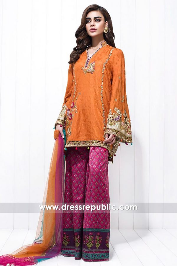 DR14633 Pakistani Designer Dresses for Mehndi Function in Burnt Orange Online
