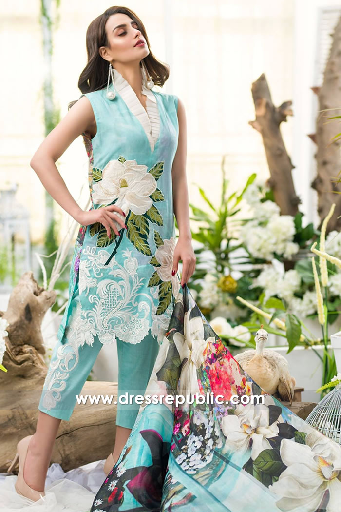 DR7491 Asifa Nabeel Lawn Eid Collection 2018 USA, UK, Canada, Australia