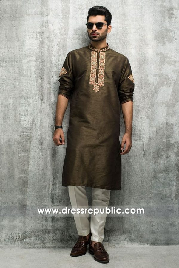 DRM5193 Pakistani Man Embroidered Shalwar Kameez Bespoke Tailoring USA