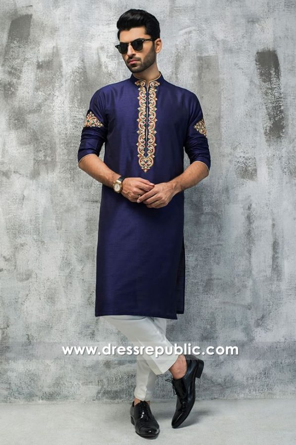 DRM5194 Formal Embroidered Shalwar Kameez in Blue & White Pakistani Wears