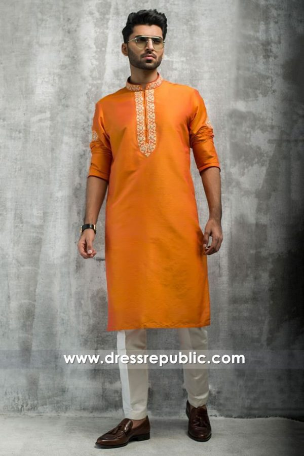 DRM5195 Mehndi Groom Yellow Kurta Shalwar 2018 UK, USA, Canada, Australia