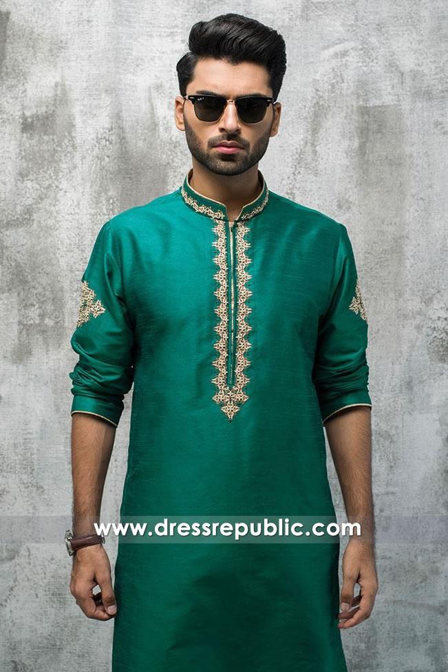 DRM5196 Henna Bridegroom Kurta Shalwar, Green Bridegroom Shalwar Kameez