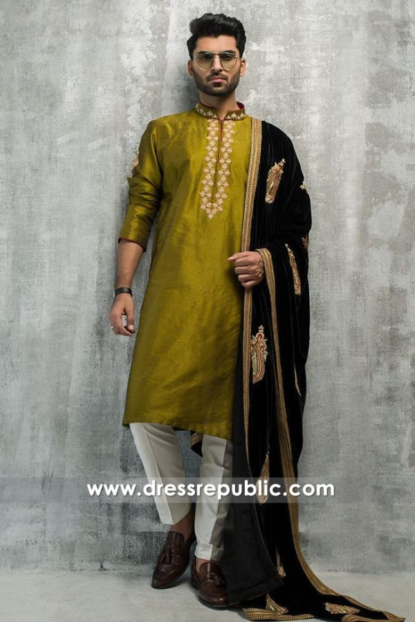 DRM5197 Groom Nikkah Kurta Shalwar 2018 with Velvet Shawl Latest Trends