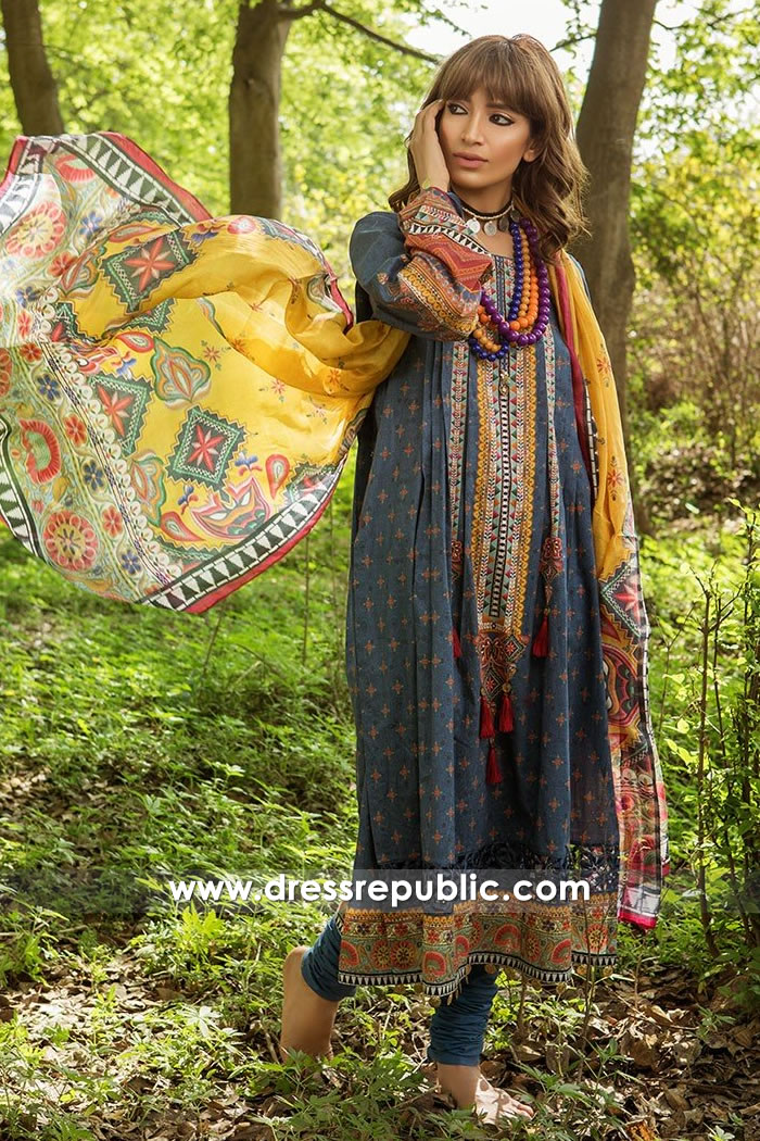 DRP7450 Maria B MPrints Embroidered and Plain Lawn Suits 1, 2 and 3 Pieces