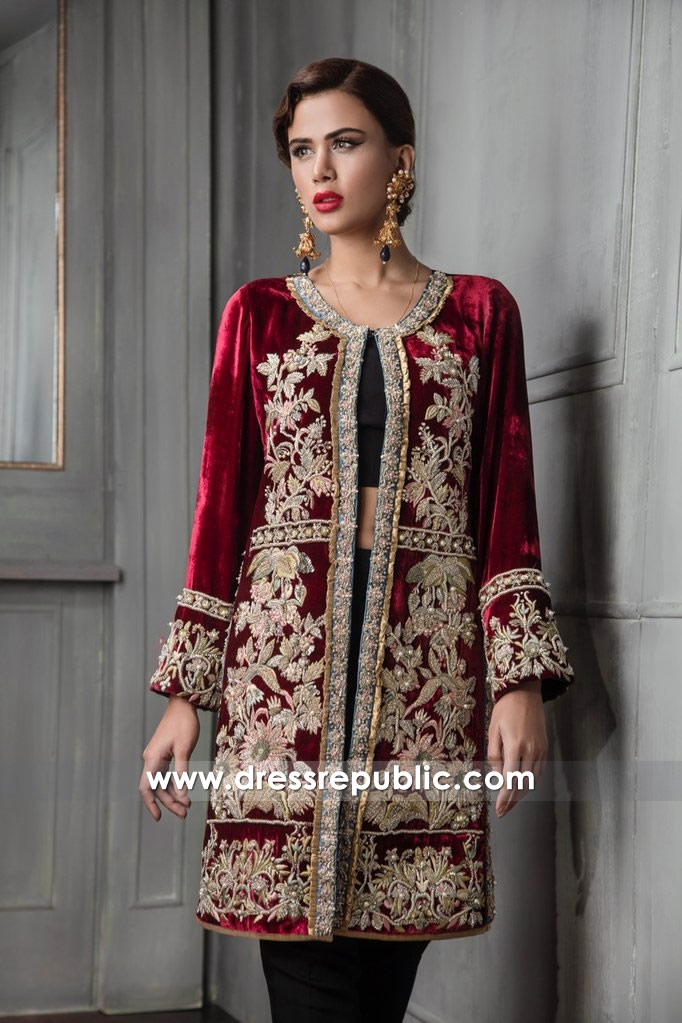 792ad944db DR14667 Velvet Embroidered Jacket Dress Pakistani Indian Wedding Guest Wears