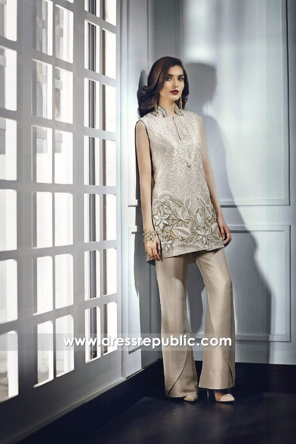 DR14678 Pakistani Designer Short Shirt with Tulip Pants 2018 Collection Online